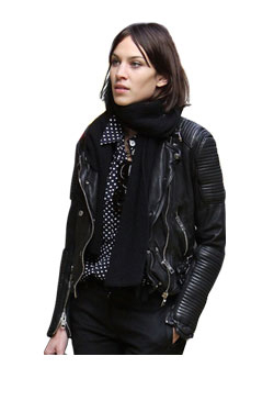 Womens Tumbled double biker jacket
