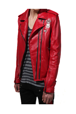 11SS RED PUNK LEATHER RIDERS