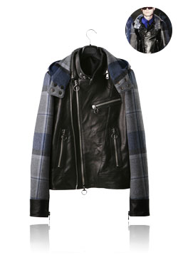 09'F/W Check Combie Leather Jacket