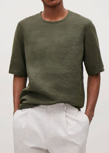 17SS CO* LINEN OVERSIZE ROLL-UP T SHIRTS  KHAKI 프리미엄 린넨 100%  당일발송