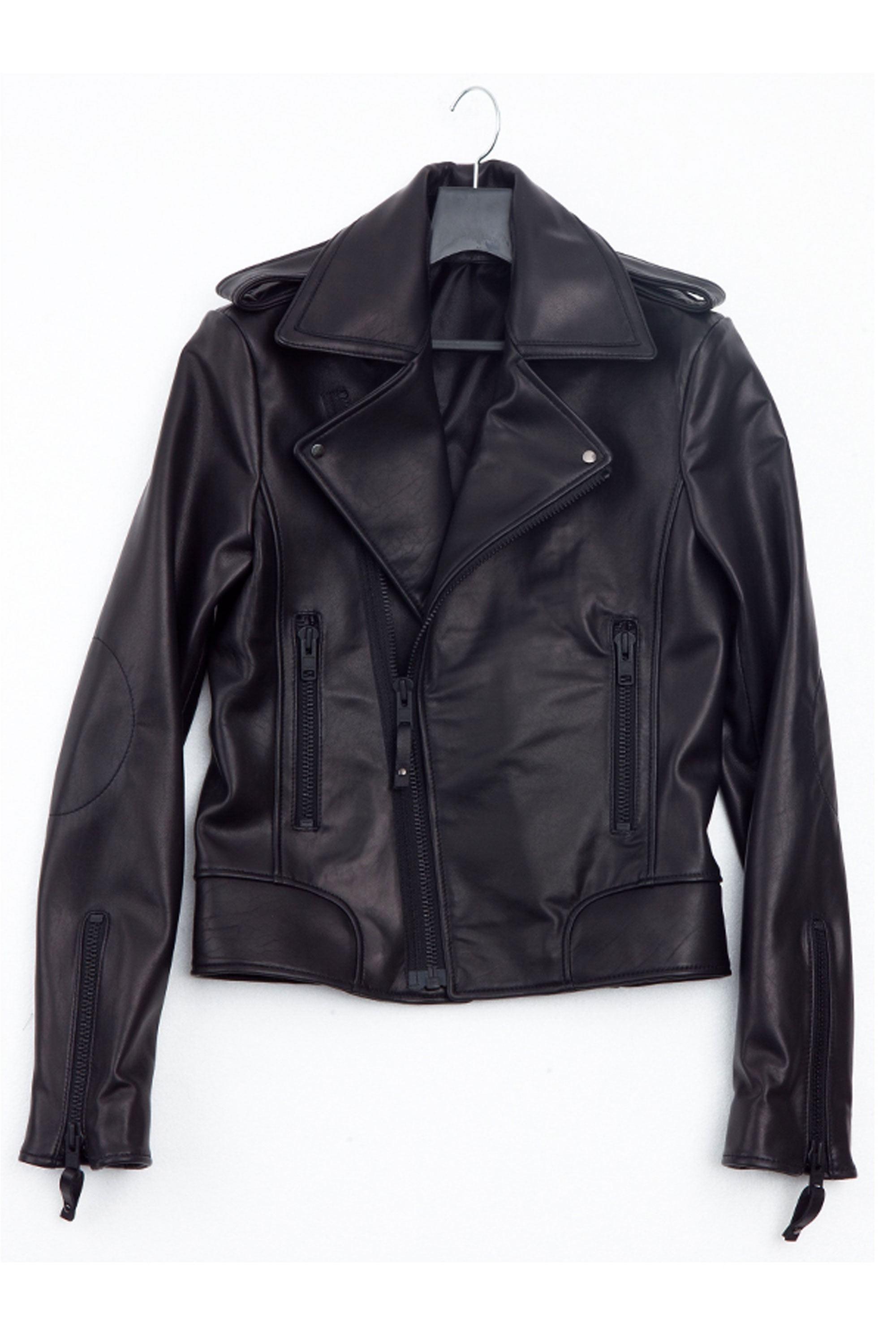 BLACK LEATHER RIDERS JACKET ykk 지퍼