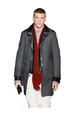 D2 leather triming coat