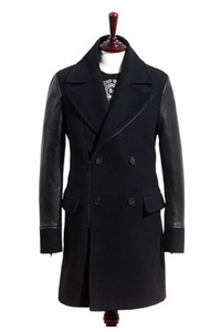 12FW LEATHER SLEEVES ZIP COAT