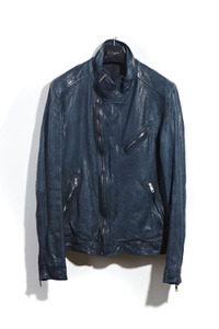 [2차결제]13 two zip leather jacket[wax blue navy & black][made in italy 베지터블원단]