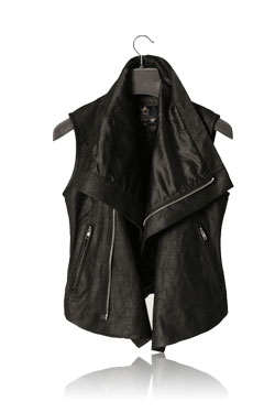 WOMAN BLACK RICKDESTROYED LEATHER VEST