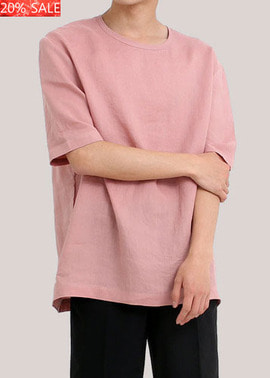 [20% SALE]  17SS CO* LINEN OVERSIZE ROLL-UP T SHIRTS  PINK 프리미엄 린넨 100%  당일발송   38,000원->30,400원